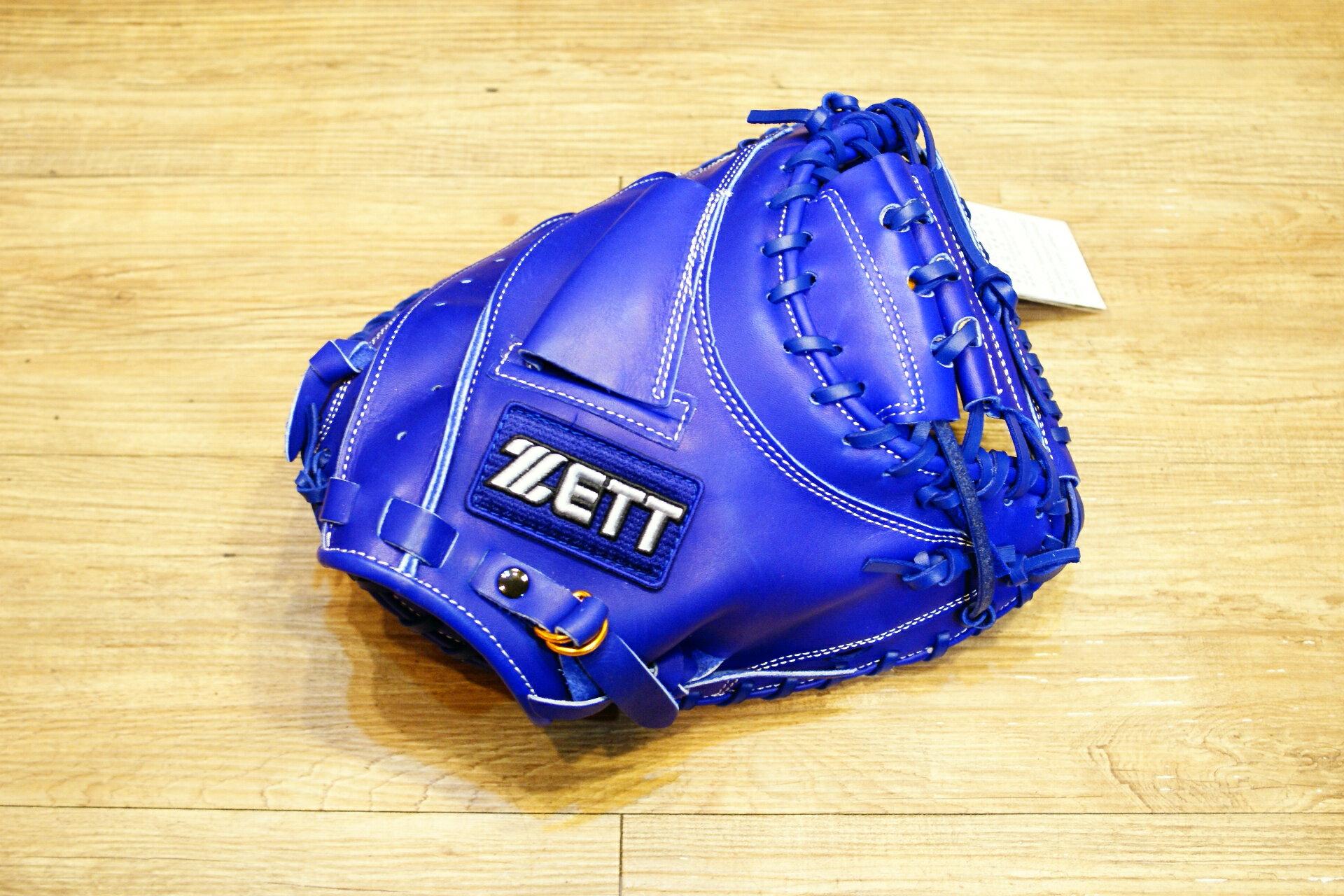 棒球世界 全新ZETT37系列全牛皮白藍標硬式棒球捕手手套 特價 藍色
