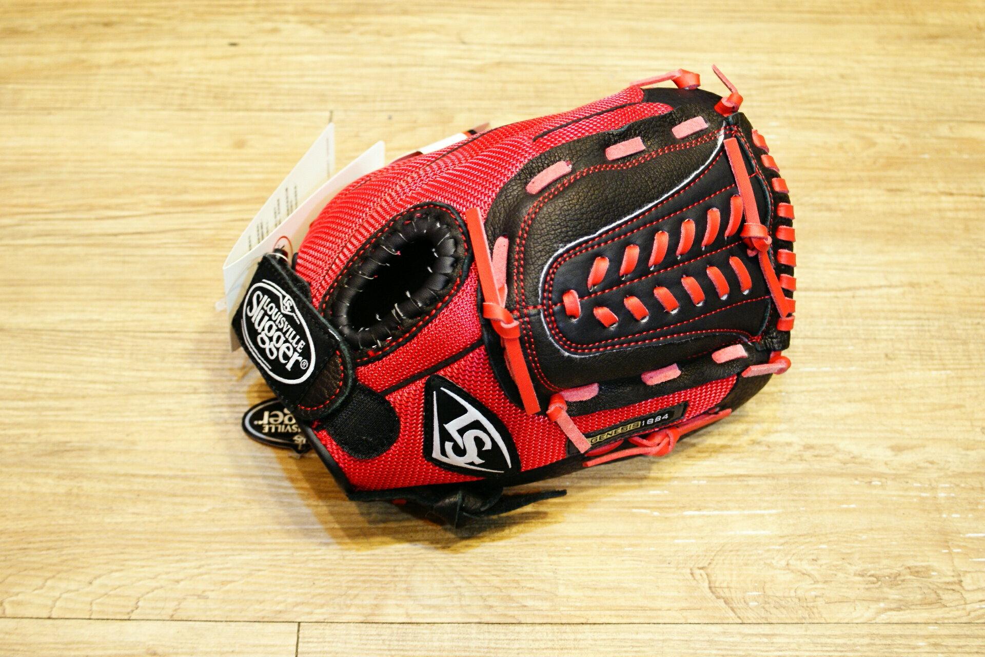 棒球世界 Louisville Slugger 路易斯威爾 genesis11.5吋兒童手套特價 黑紅配色