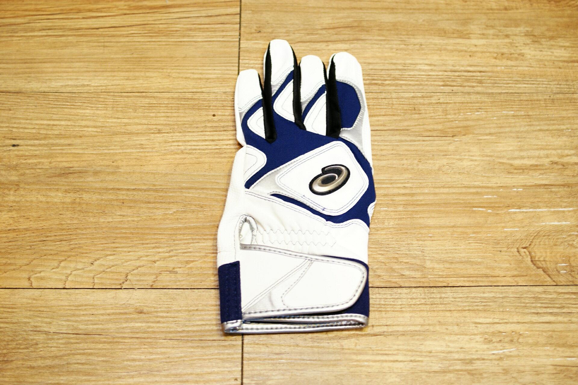 棒球世界 全新asics 亞瑟士可水洗打擊手套一支入 特價 白藍配色