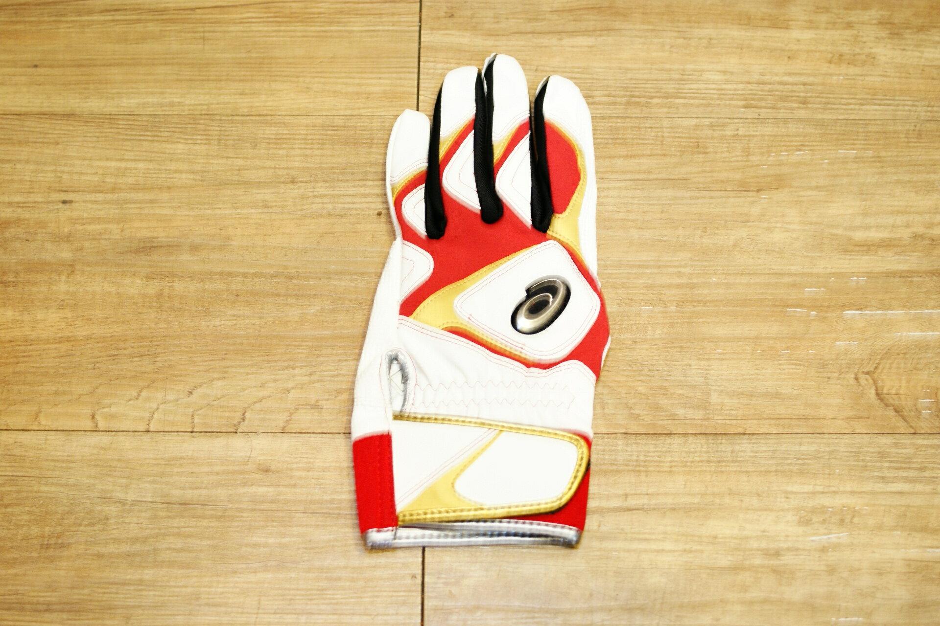 棒球世界 全新asics 亞瑟士可水洗打擊手套一支入 特價 白紅配色