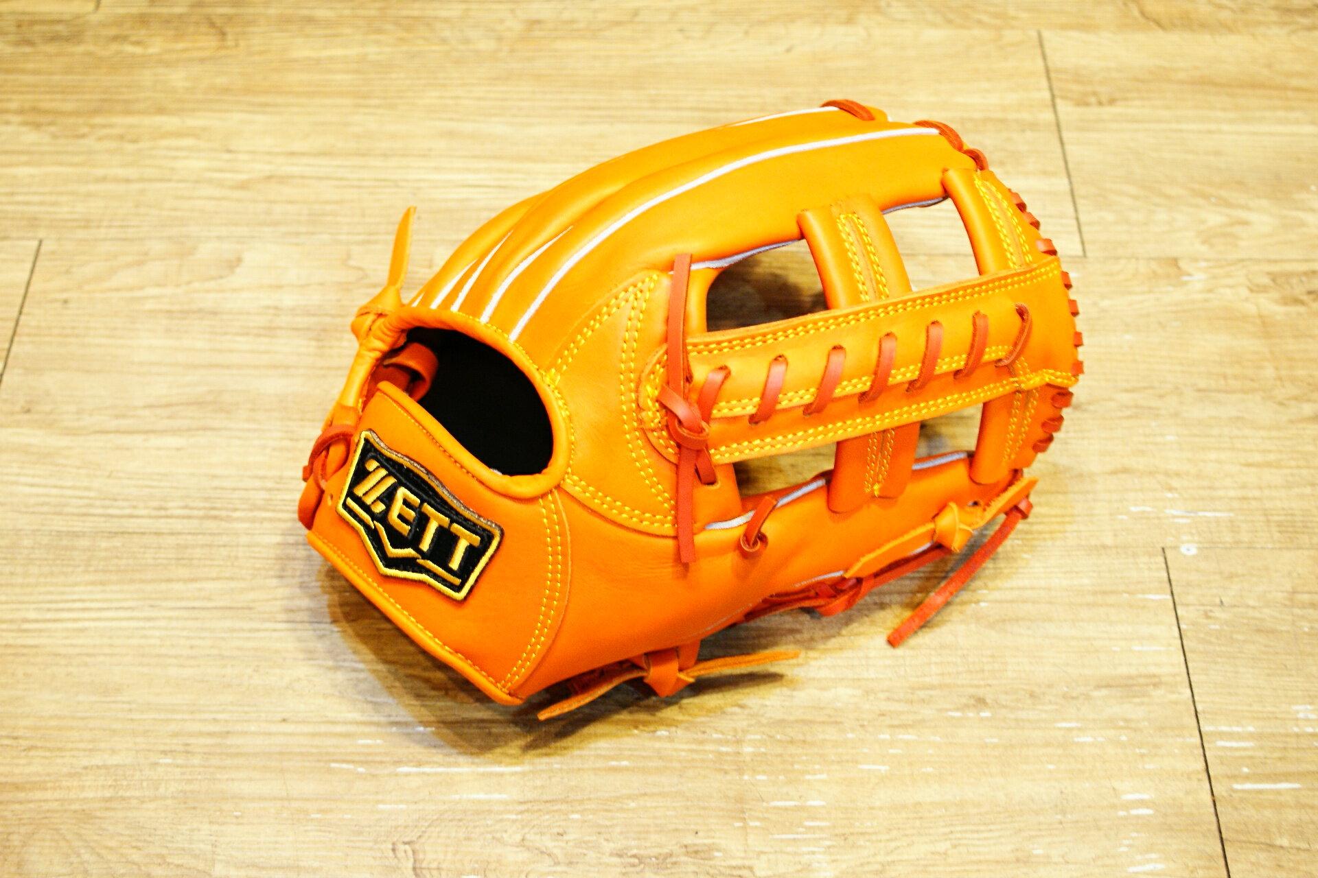 棒球世界 全新 ZETT本壘版新標訂製硬式牛皮內野手套 特價 12吋 限量日本最新球檔 橘色
