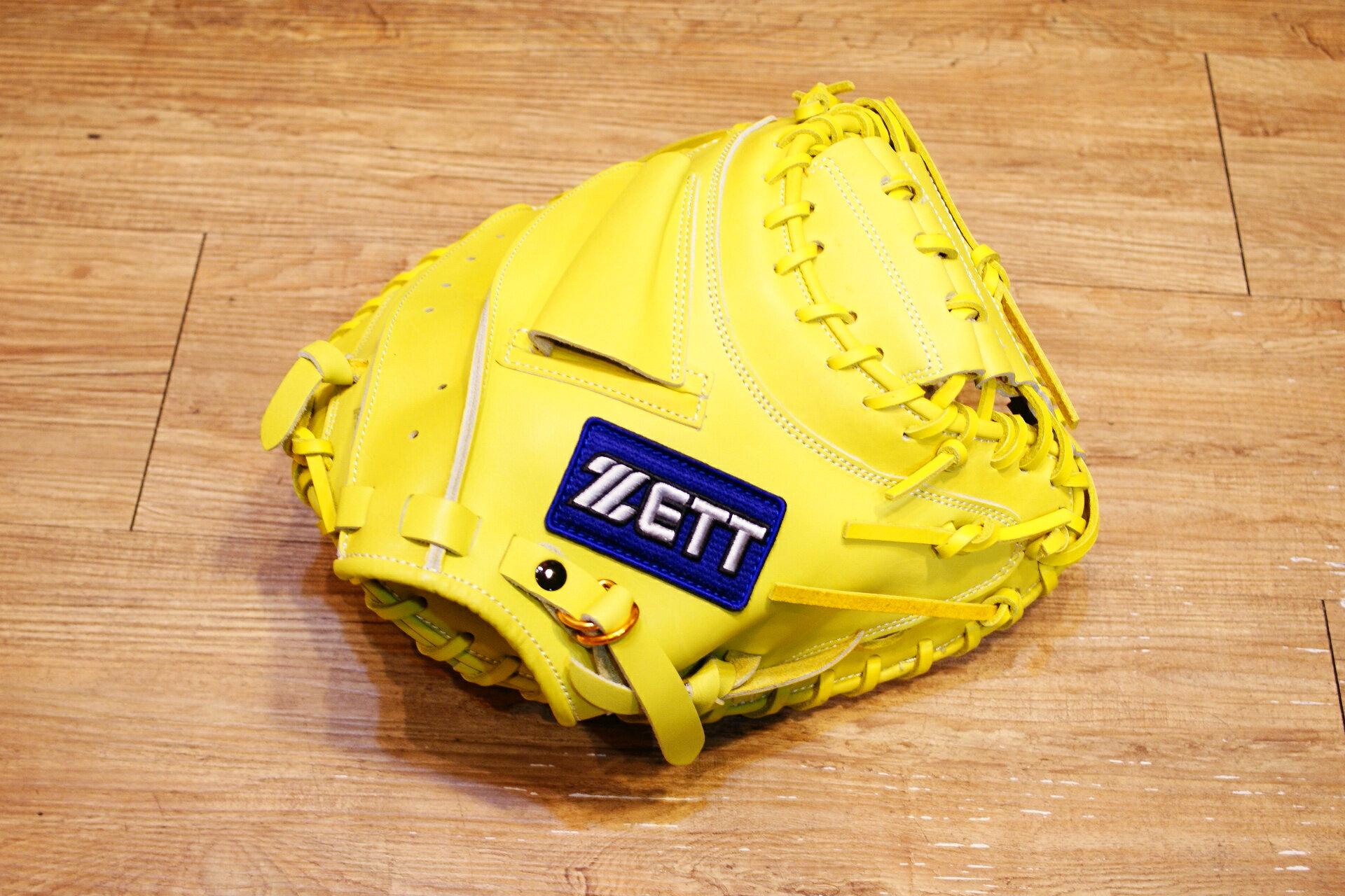 棒球世界 全新ZETT37系列全牛皮白藍標硬式棒球捕手手套 特價 檸檬黃色 3722