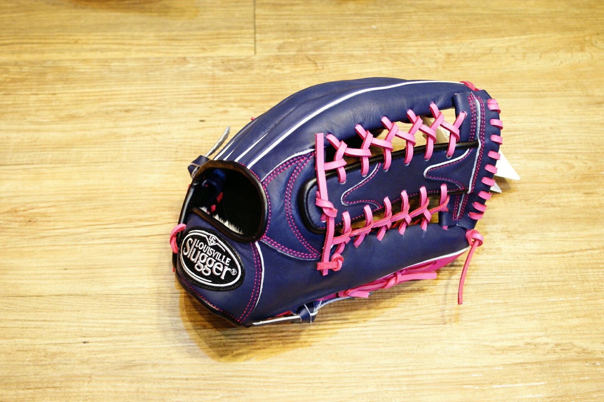棒球世界 路易士Louisville Slugger (TPX) X Remix 牛皮棒球手套 特價 外野T網深藍粉配色