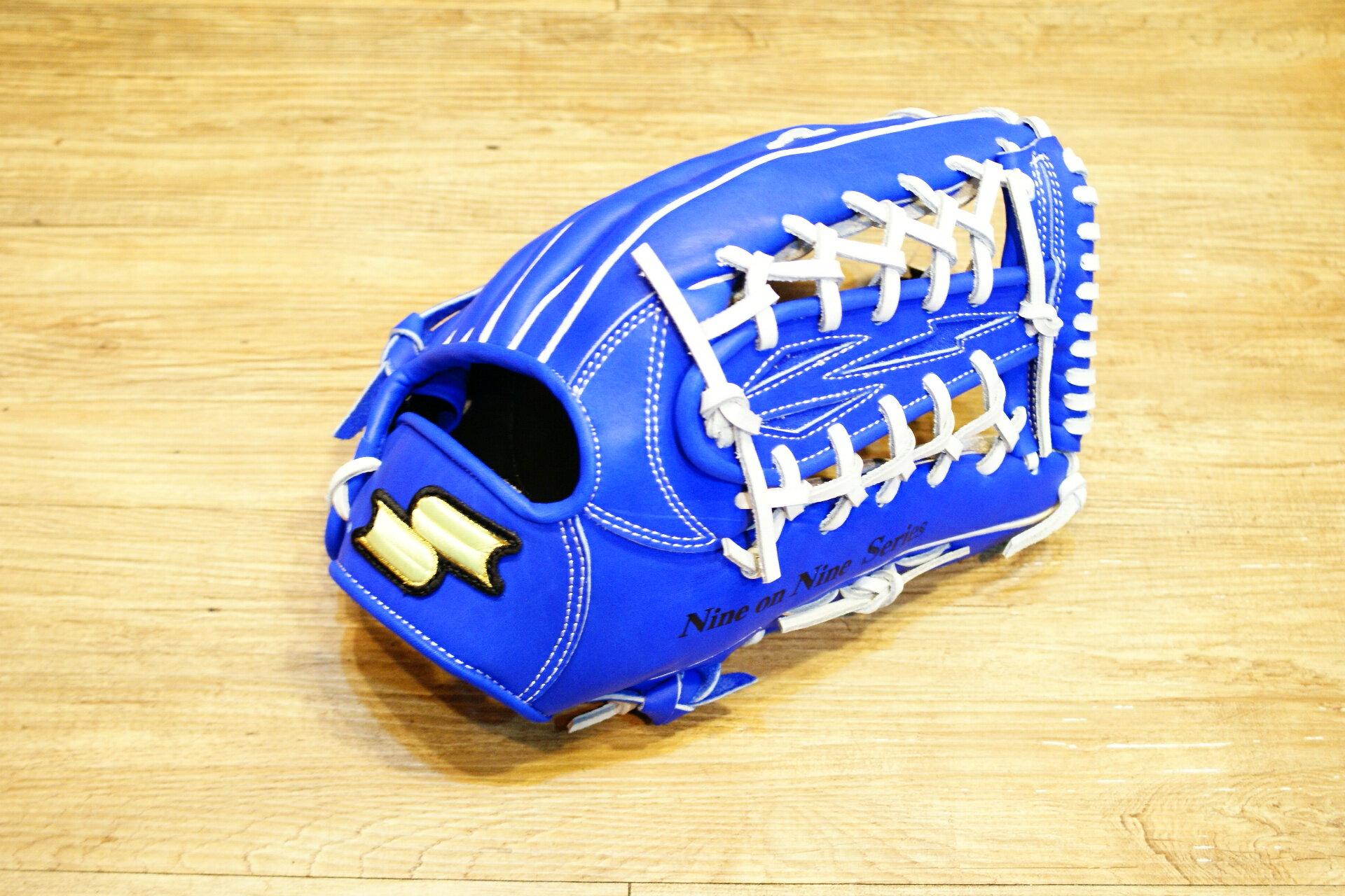 棒球世界新款SSK全指棒壘球牛皮手套 特價 外野網狀 寶藍色