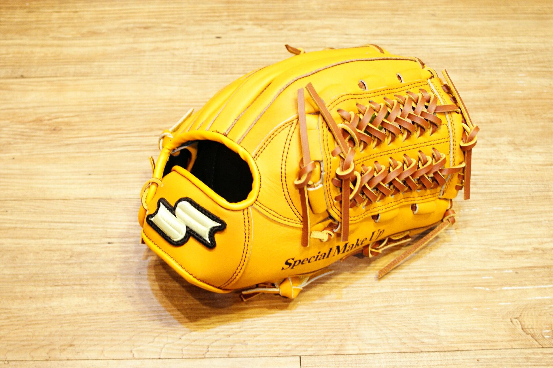 棒球世界 全新 店訂版SSK棒壘通用牛皮內野手套特價   內野L7網檔 原皮色