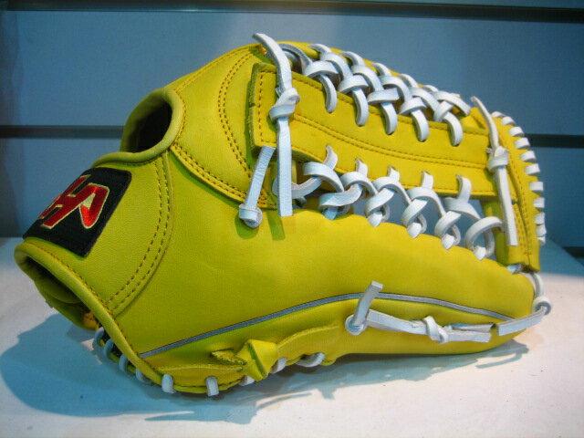 棒球世界 全新HATAKIAMA台灣牛皮棒壘球手套/ 外野T網 檸檬黃白配色