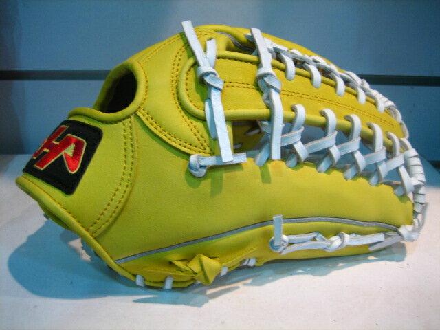 棒球世界 全新HATAKIAMA台灣牛皮棒壘球手套/ 外野牛舌檔 檸檬黃白配色