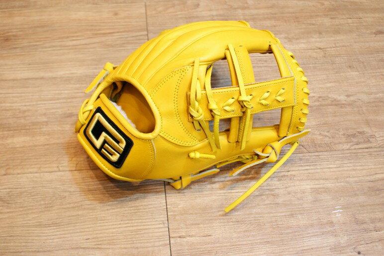 棒球世界 全新韓國品牌 四神 棒壘球手套 日本KIP 店家訂製款 特價 內野 原皮黃色 十字球檔