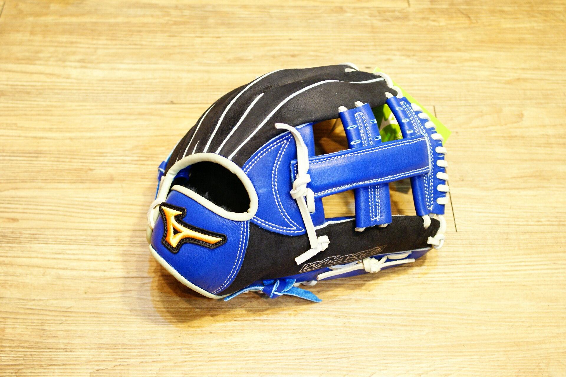 棒球世界 2015年 Mizuno美津濃 WILD KIDS 少年用手套特價 黑藍色 十字款