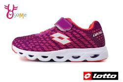 LOTTO樂得 義大利 大童 銀河編織風 機能鞋墊 網布運動鞋 慢跑鞋 M8603#桃紅◆OSOME奧森鞋業