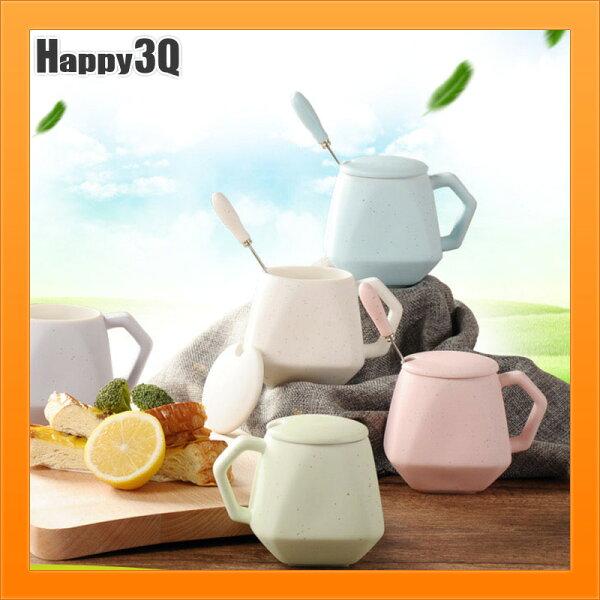 陶瓷杯水杯創意個杯陶杯水杯茶杯咖啡杯附蓋子送湯匙-藍綠米粉紫【AAA4637】
