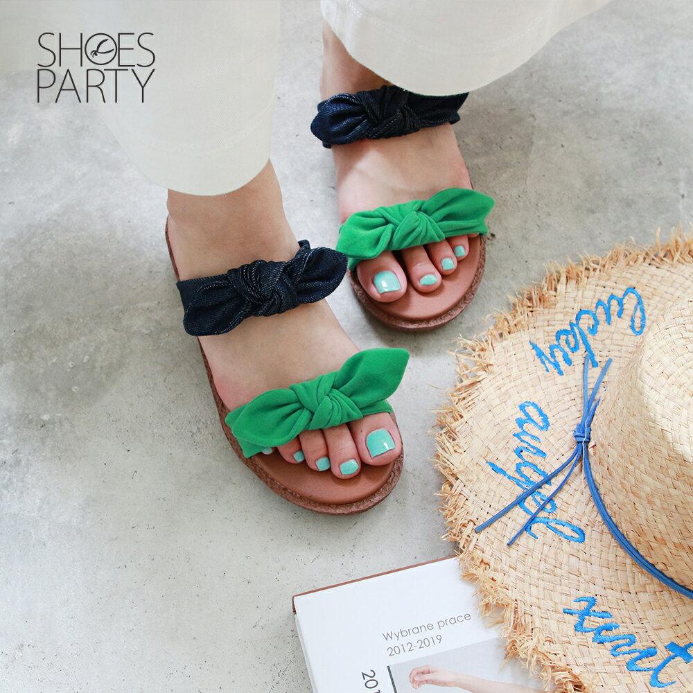 【S2-19626F】Simple+雙蝴蝶結漢堡底拖鞋_Shoes Party 1