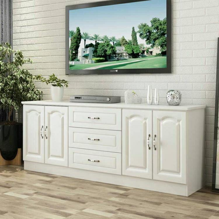 實木電視櫃簡約小戶型白色儲物櫃組合地櫃高款臥室電視櫃現代簡約CY  麻吉好貨