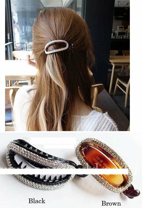 ★草魚妹★H572髮夾橢圓形水鑽抓夾公主頭馬尾夾香蕉夾髮夾髮飾髮圈,售價150元