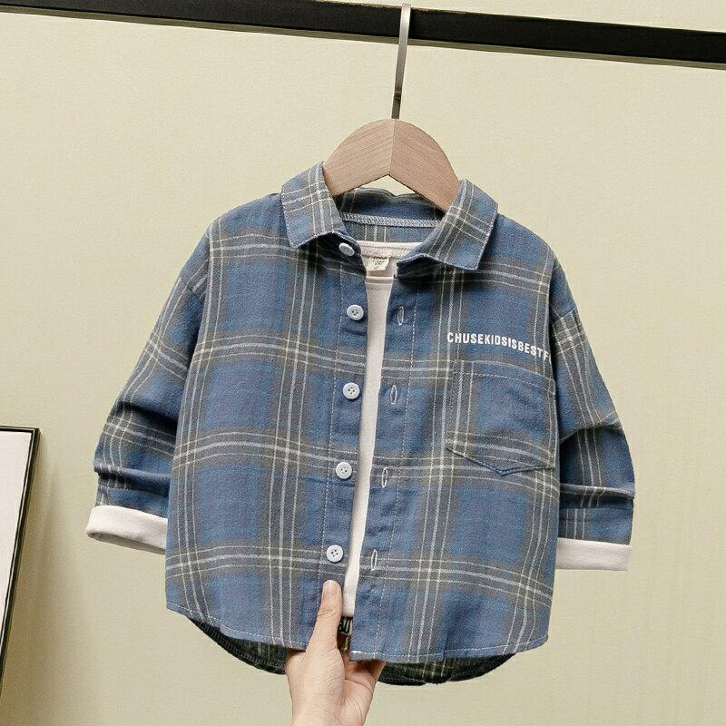 童裝男童長袖格子襯衫春裝新款男孩春季洋氣寶寶兒童襯衣韓版  聖誕節全館免運