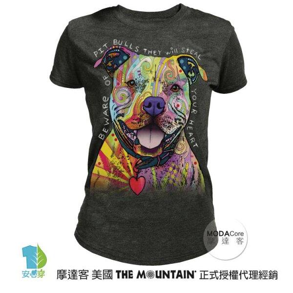 【摩達客】(預購)美國TheMountain都會系列彩繪比特犬圓領修身女版短T