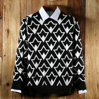 針織毛衣長袖針織衫-英倫風幾何造型男上衣73ik49【獨家進口】【米蘭精品】