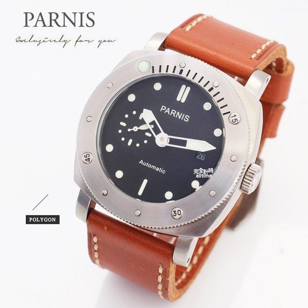 ~完全計時~手錶館│PARNIS 瑞典軍錶風格 計時轉盤 自動機械錶 PA3112 後鏤空