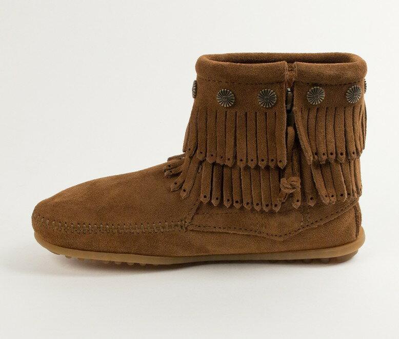 【Minnetonka 莫卡辛】深棕色 - 雙層麂皮流蘇踝靴 3