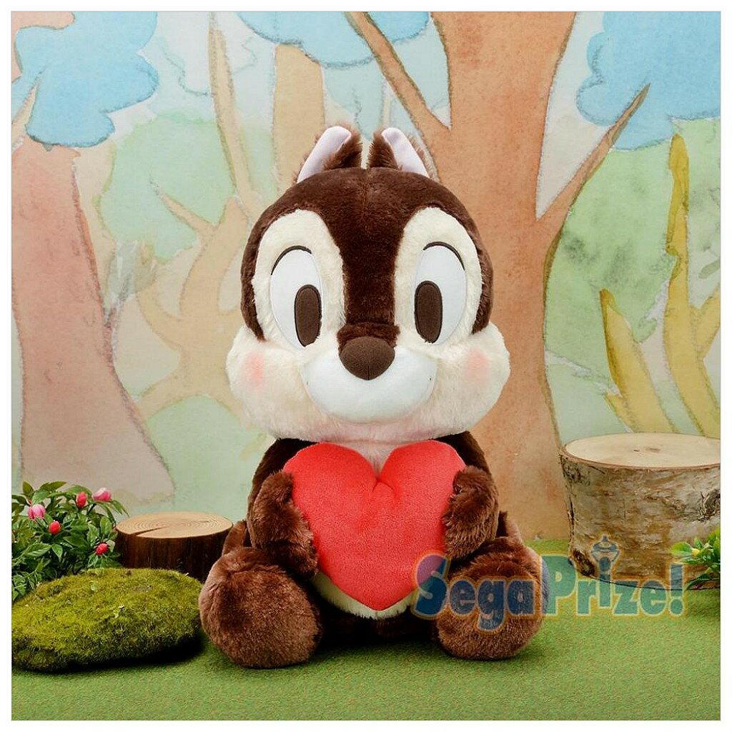 日本景品 絨毛娃 奇奇 花栗鼠 迪士尼 松鼠 抱愛心 娃娃 玩偶 玩偶 絨毛娃娃 收藏 擺飾 真愛日本