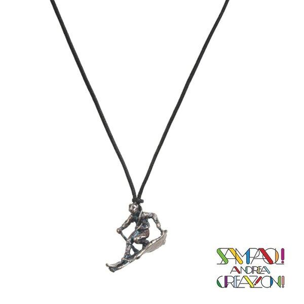 【SAC義大利】青銅項鍊吊飾-滑雪者義大利傳統飾品工藝/SAC025