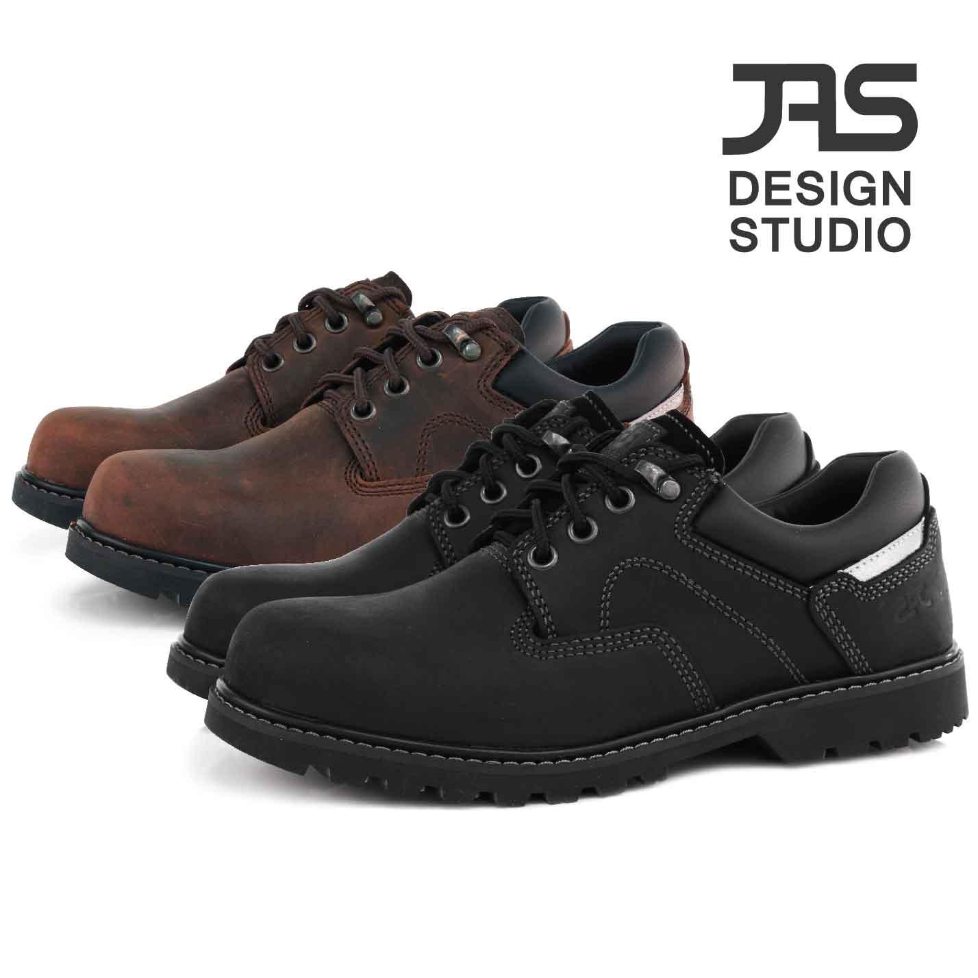 JASSHOES【JW工作鞋】真皮 油臘感 美國牛皮 鞋帶 鋼包頭 橡膠底 耐磨 低筒 鋼頭鞋 休閒鞋 共2色-咖啡/黑色