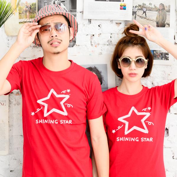 ◆快速出貨◆shining star塗鴉星.美式設計.T恤.班服.最佳情侶裝.純棉短T.MIT台灣製.短T【YC270】可單買.艾咪E舖