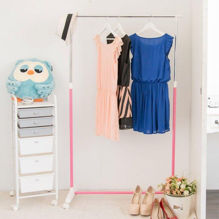 [tidy house]馬卡龍粉嫩單桿衣架曬衣架吊衣架收納架掛衣架置物架衣櫥架 粉色HG20C-PK