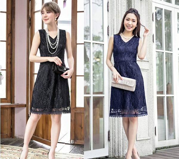 天使嫁衣【HL88089】2色中大尺碼氣質優雅V領蕾絲無袖修身顯瘦輕熟小禮服˙預購訂製款