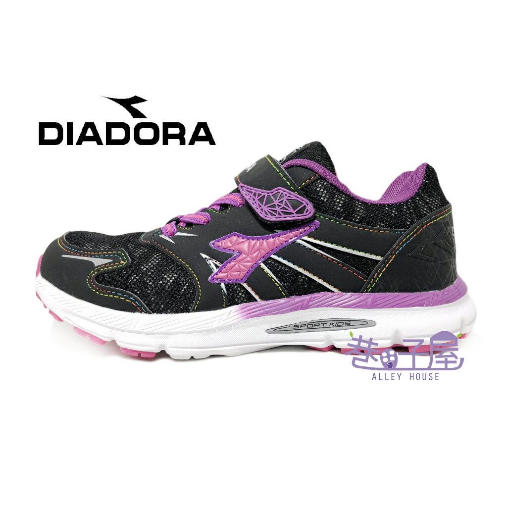 【巷子屋】義大利國寶鞋-DIADORA迪亞多納 女童3E寬楦康特杯健康機能運動慢跑鞋 [3827] 黑紫