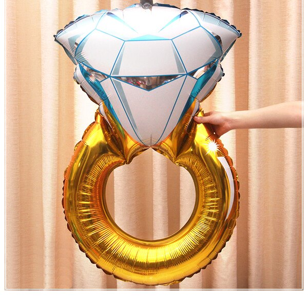一定要幸福哦結婚百貨:一定要幸福哦~~大鑽戒鋁箔氣球62*96公分,婚禮裝飾布置,求婚道具,婚紗照錫箔球生日