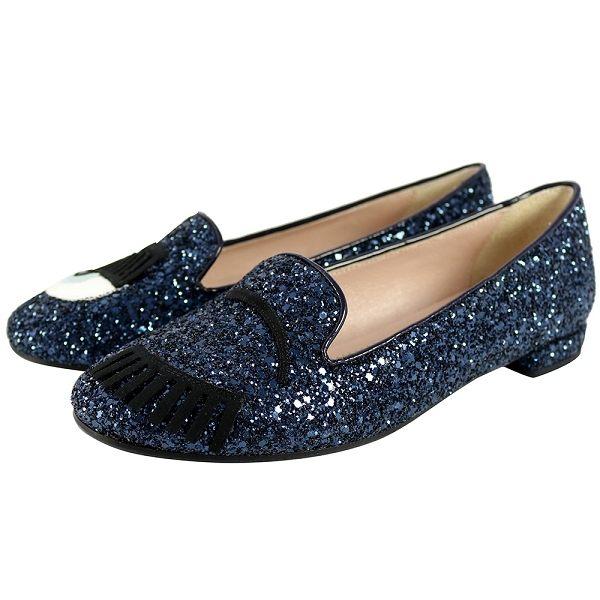 【CHIARA FERRAGNI】眨眼睛平底樂福鞋(藍黑色亮片) CF655