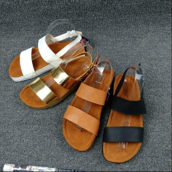 Pyf ♥ 歐美 寬版雙帶 休閒平底涼鞋 金屬色 黑白素色 勃肯鞋 42 大尺碼女鞋