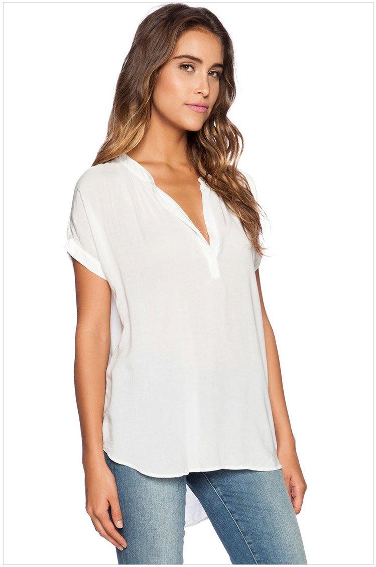 歐美時尚新款女裝V領短袖前短後長寬鬆雪紡性感薄透襯衫式上衣 多色 25789