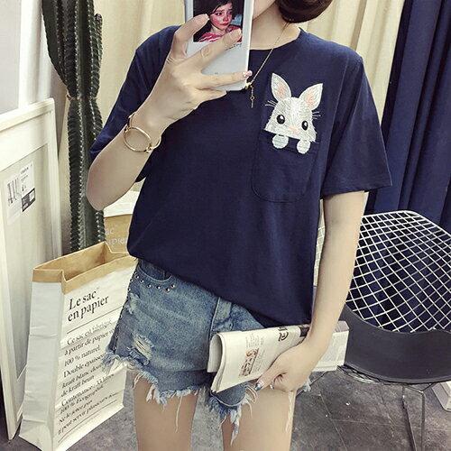 刺繡短袖Ť恤(2色M~XL)*ORead*