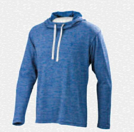 [陽光樂活] MIZUNO 休閒長袖連帽T恤 混色深藍 D2TA550922 Slim fit