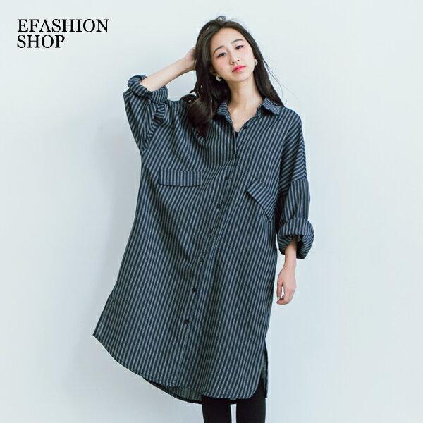假蓋袋直條寬鬆長版襯衫-eFashion預【J15761804】