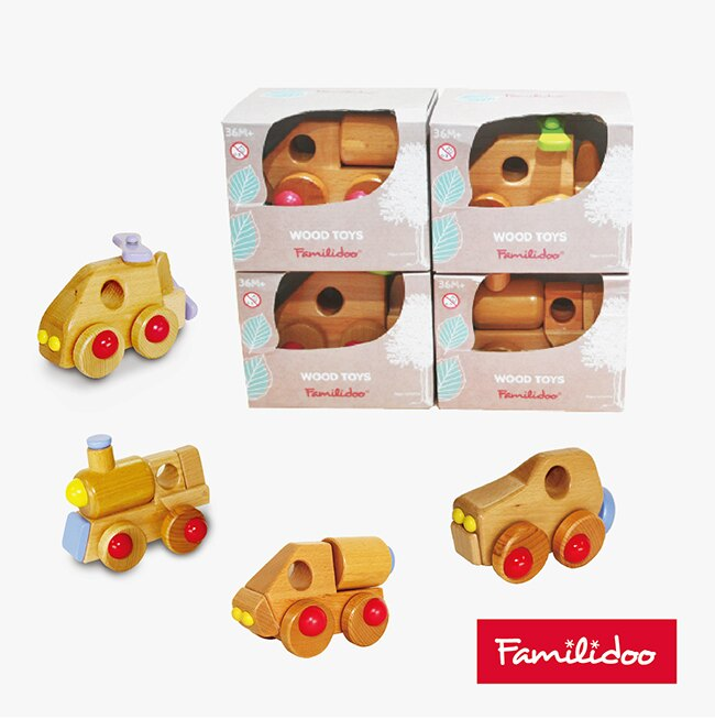 [Familidoo] 無甲醛無毒玩具/實木玩具/木頭玩具車組合