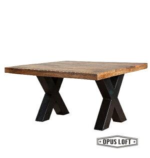 純真年代Opus Loft:復古LOFT工業風X字鐵腳原木咖啡桌