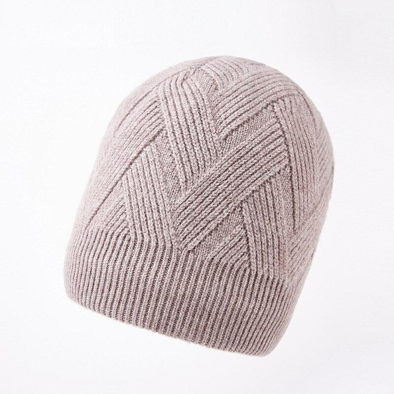毛帽羊毛針織帽-純色菱形花紋包頭男帽子4色73wj46【獨家進口】【米蘭精品】 0