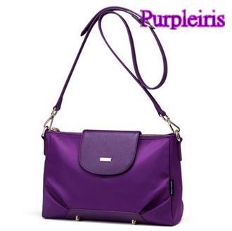 【鳶尾紫】紫色包包 紫色女包 輕便 後背包  最新款女包 韓版時尚側背包 信封式暗釦設計 簡約優雅 高級尼龍手感順滑 附可拆卸背帶  OL必備單品