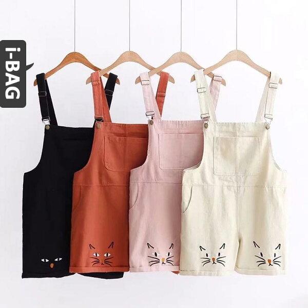 B.A.G*現+預*【PB1439】口袋下擺貓咪刺繡牛仔吊帶短褲(現+預)-3色