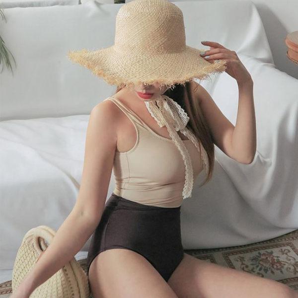 PS Mall 泳裝【ET004】新款日系拼色保守顯瘦三角連身露背性感泳衣 溫泉 沙灘 BIKINI 0