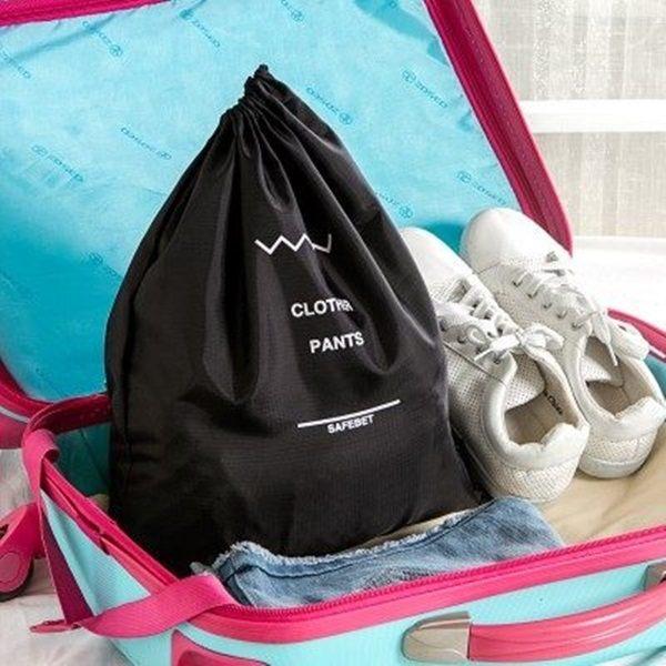 ♚MY COLOR♚抽繩防水收納袋 SAFEBET 旅行 雙層 整理 束口袋 字母 便攜 行李 分類 防塵 (大)【F31】