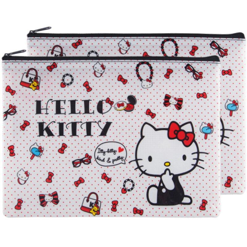 hello kitty資料收納袋 KT貓A5拉鍊文件袋 卡通塑膠文具袋