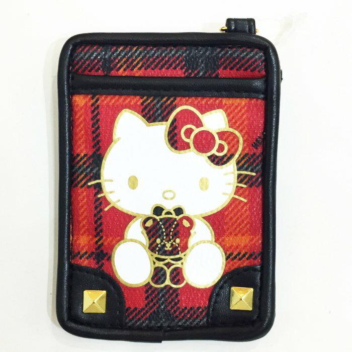 HELLO KITTY 票卡套 證件套 悠遊卡套 經典格紋2卡位 40周年 文具 正版日本進口 * JustGirl *