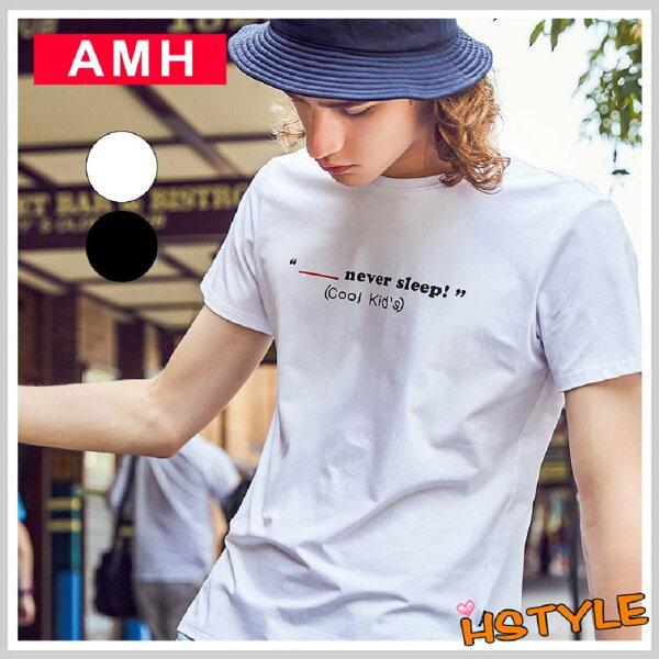 T恤男裝圓領字母印花短袖T恤OD8050-創翊韓都