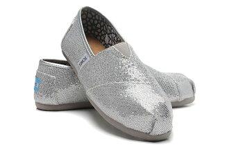 【TOMS】經典亮片款平底休閒鞋(銀色) Sliver Glitter Women\