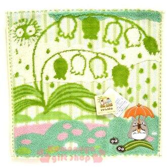 〔小禮堂〕宮崎駿Totoro龍貓 小方巾《粉綠.站姿.撐傘.鈴蘭花》23x23cm