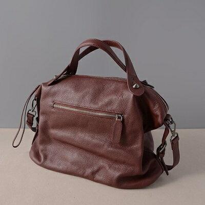 肩背包真皮手提包-大容量純色荔枝紋牛皮女包包2色73ut12【獨家進口】【米蘭精品】 2